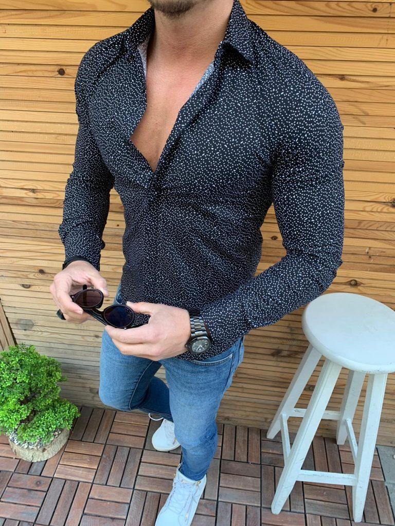 Мъжка риза в черен цвят със стилен флорален десен