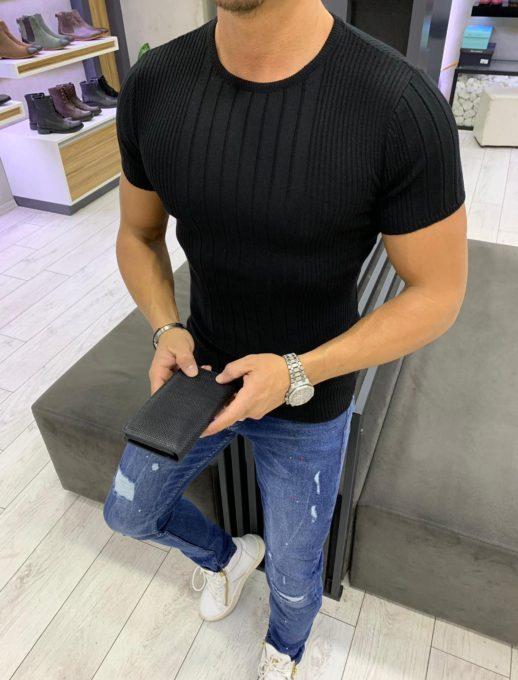 Мъжка блуза от фино плетиво в класически черен цвят
