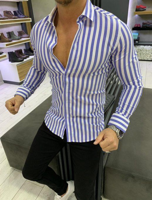 Практична мъжка риза с дълъг ръкав в синьо райе