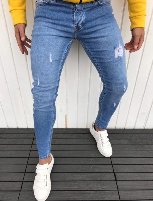 Интересни памучни мъжки дънки в светло син деним с надран ефект