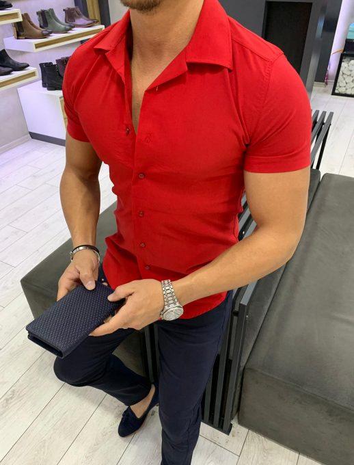 Мъжка риза в модерно червено с къс ръкав