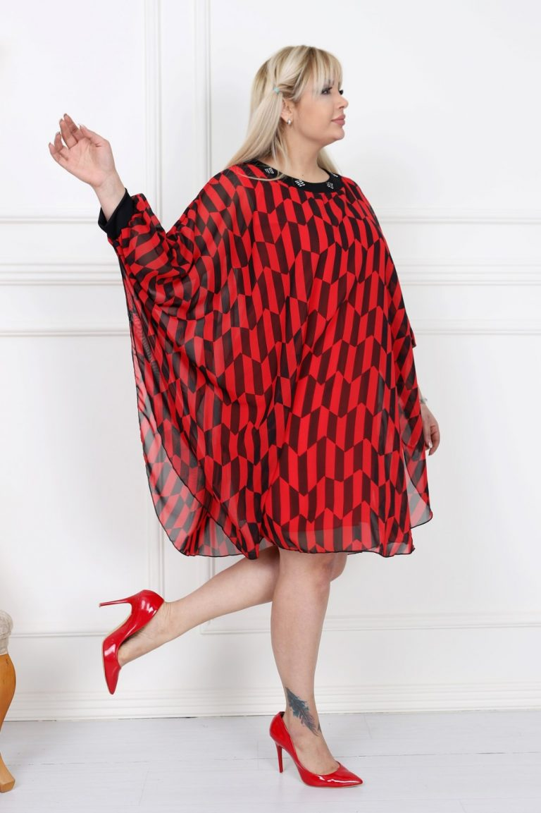 Макси рокля тип пончо в стилен десен с нежни камъчета