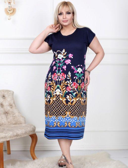 Свежа дамска макси рокля с флорална мотиви-код 741