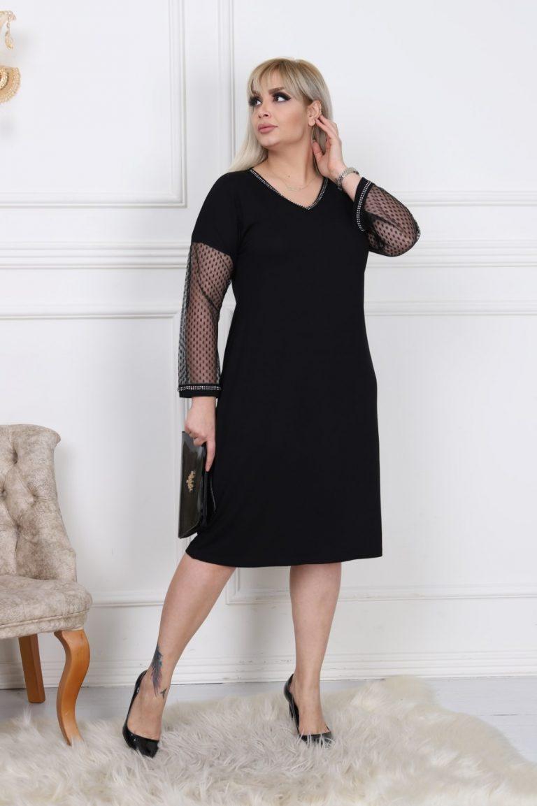 Елегантна макси рокля с ръкави от нежен тюл на точки/3XL-5XL/