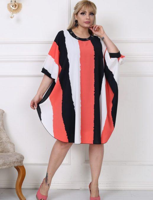 Свежа макси рокля тип пончо от прекрасен шифон с нежни камъчета