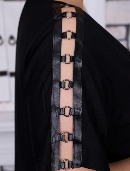 Дамска макси блузка с кожа и халкички на рамото/2XL-6XL/-код 711-02