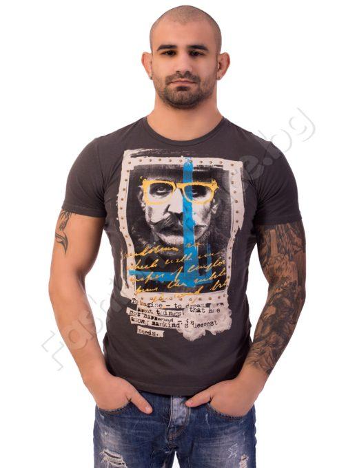 Мъжка тениска с щампа в три цвята Код 219