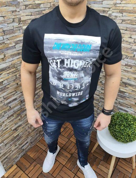 Мъжка тениска с цветна щампа