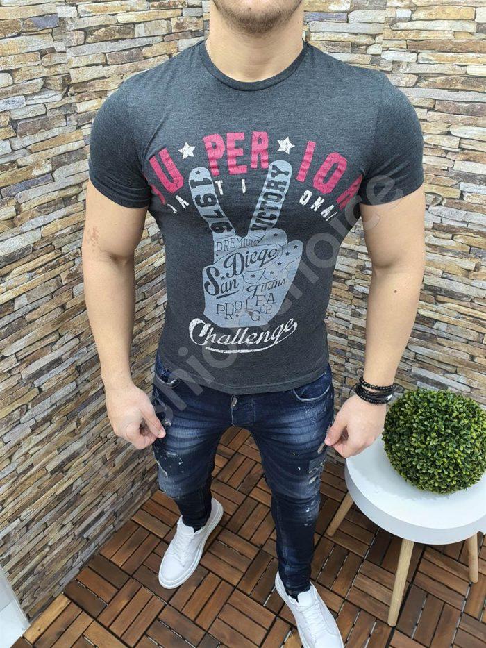 Мъжка тениска SUPERIOR в тъмен графит