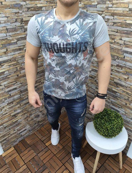 Мъжка тениска с надпис THOUGHTS в сиво