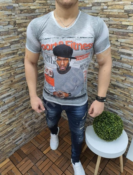 Мъжка тениска с надпис 50 CENT