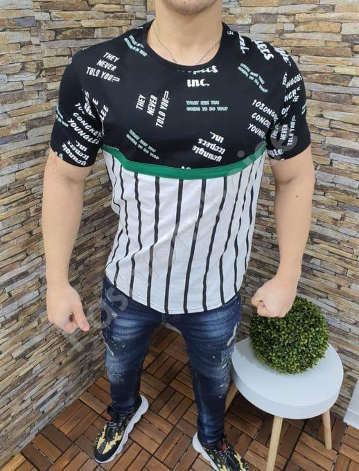 Мъжка тениска с надписи и райета