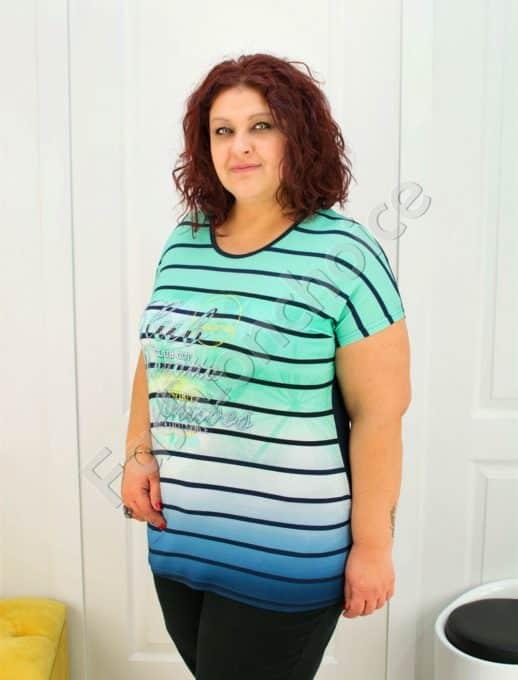 Дамска макси блуза в свежа комбинация на цветни райета
