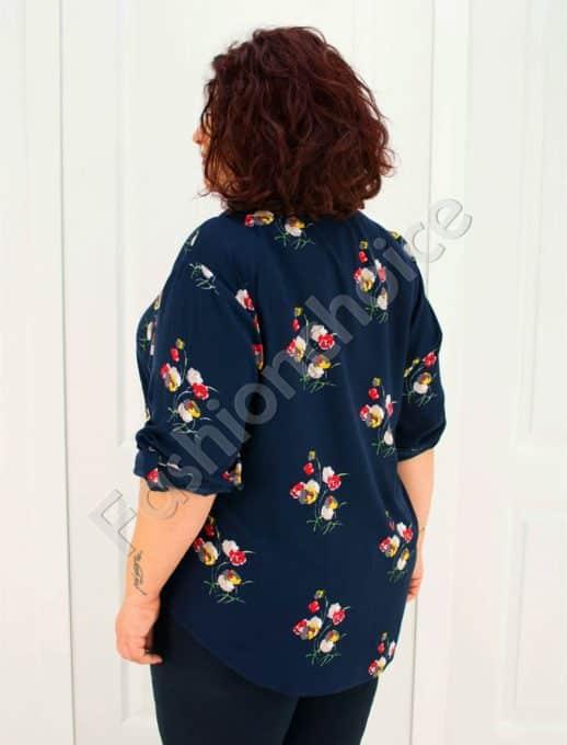 Прекрасна макси риза в тъмно син десен на цветя/52-60/-код 704-2