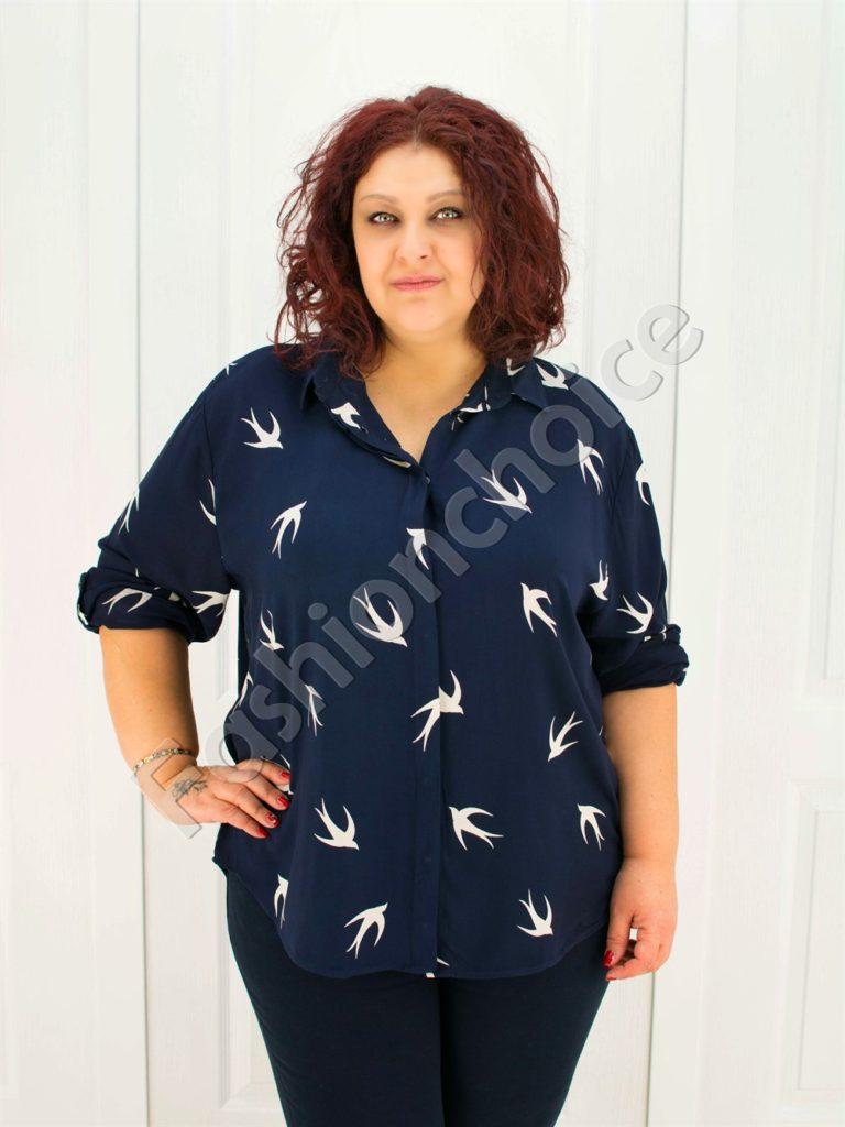 Прекрасна макси риза в тъмно син цвят/52-60/-код 704-4