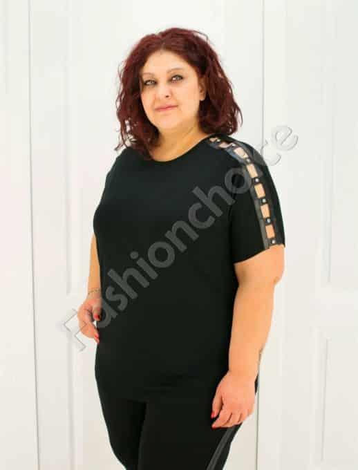 Дамска макси блузка с нежни камъчета на рамото/2XL-6XL/-код 711-01