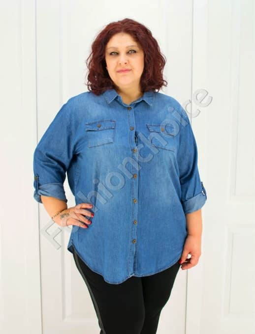 Чудесна макси дънкова риза в светъл деним/52-60/-код 704-1213