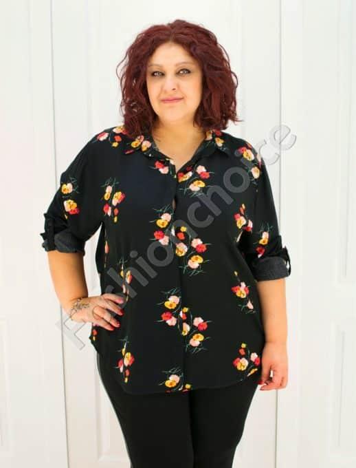 Прекрасна макси риза в черен десен на цветя/52-60/-код 704-1