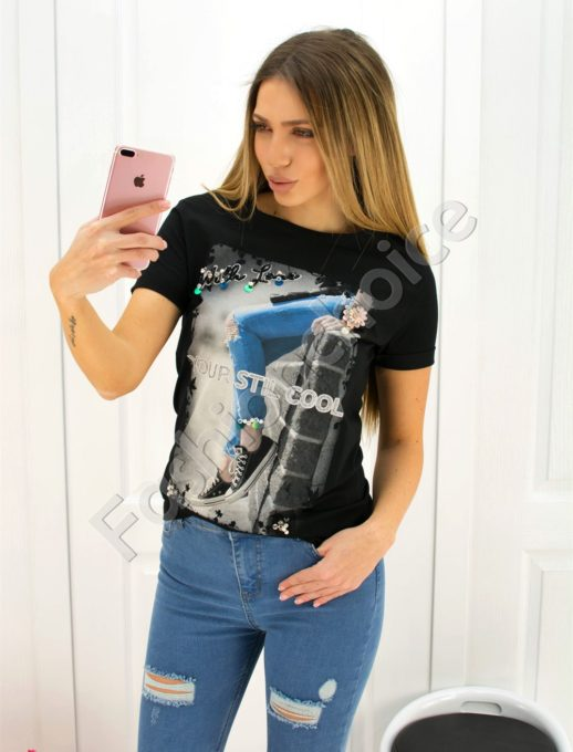 Дамска блузка с декорация- код 707-3044
