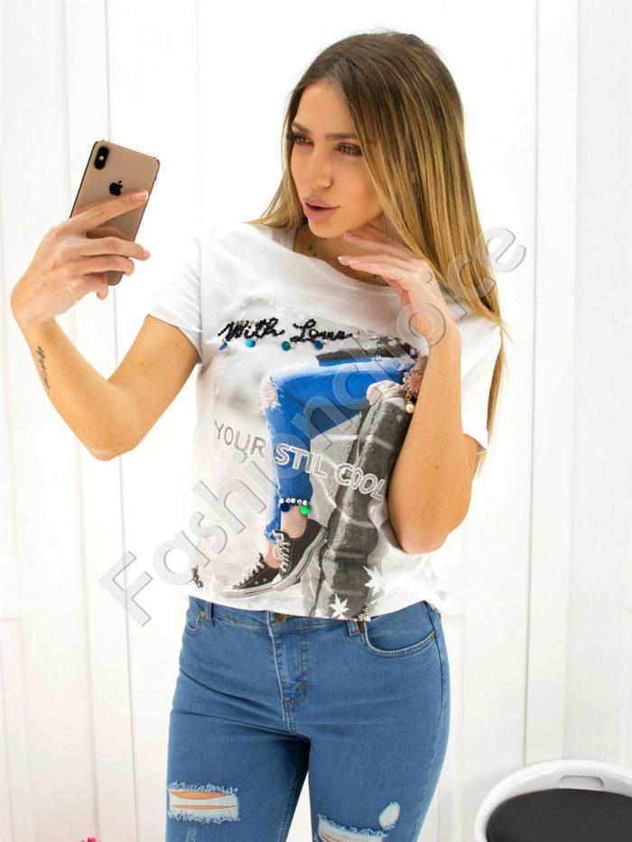 Дамска блузка с камъчета- код 707-3044-1
