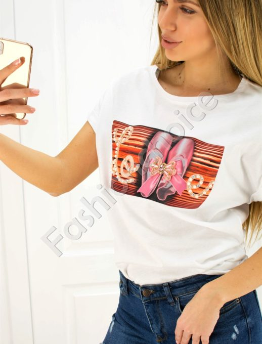 Дамска блузка LOVE с панделка- код 707-3007-1