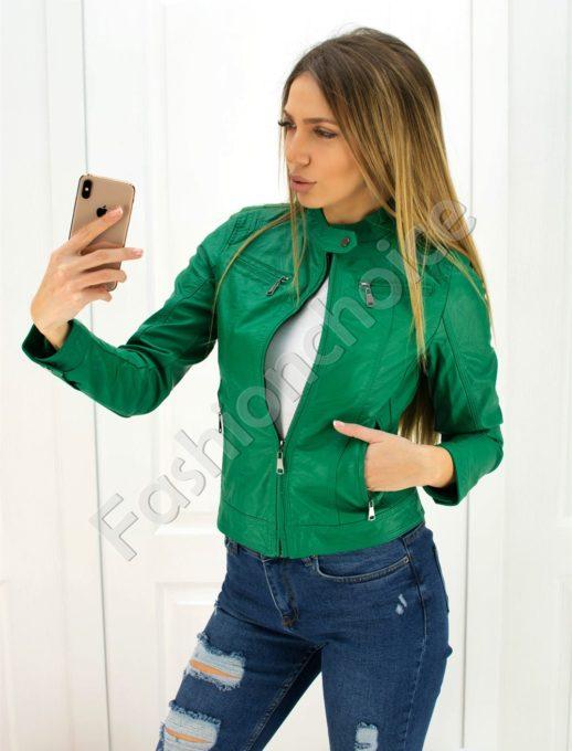 Дамско кожено яке в зелено- Код 301-001