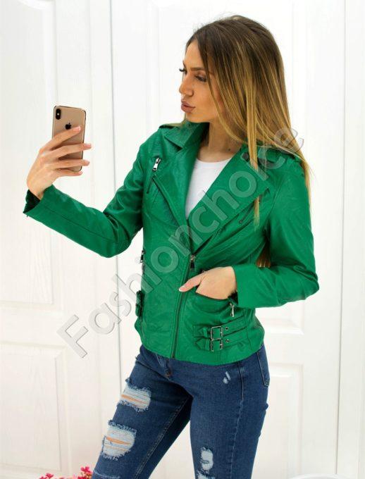 b0715fc89af Дамско кожено яке в зелено със страничен цип код 301-051-1