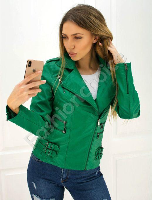 Дамско кожено яке в зелено със страничен цип код 301-051-1