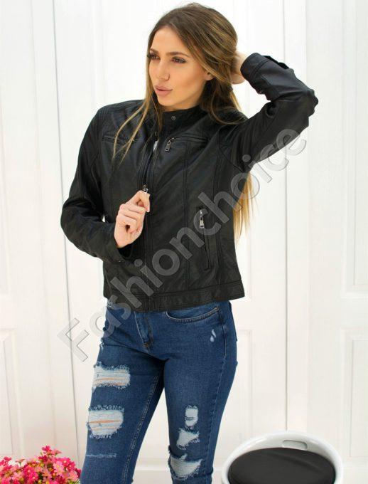 Дамско кожено яке в черно код 301-080
