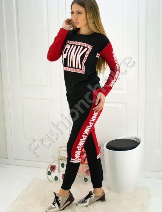 Страхотен дамски комплект в черно и червено с БЯЛ надпис PINK