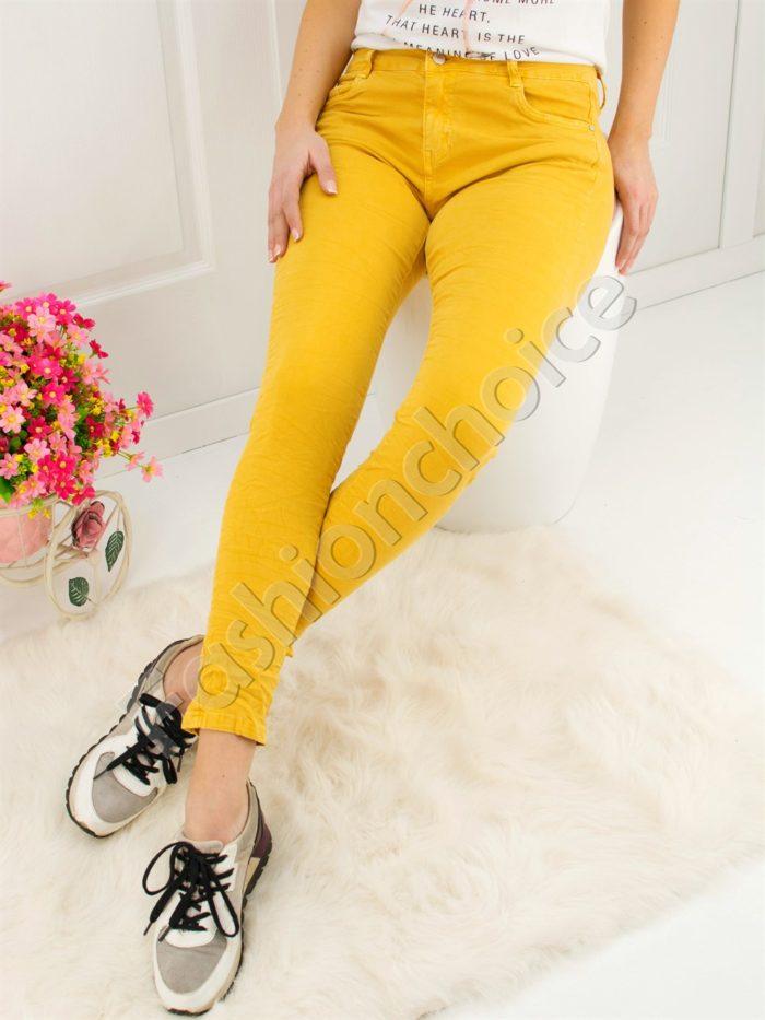 Дамски панталон в цвят горчица- код 719-899