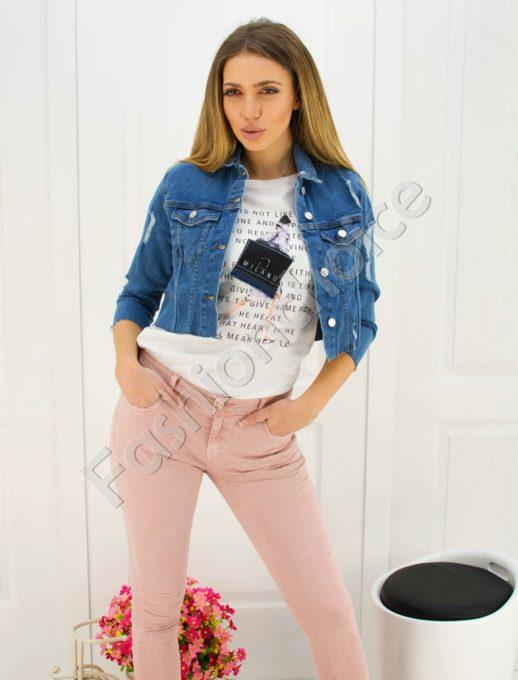 Пролетно дамско дънково якенце с джобчета и метални копчета