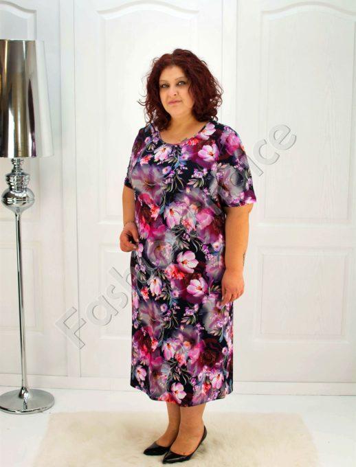 Красива макси рокля на цветя- код 079