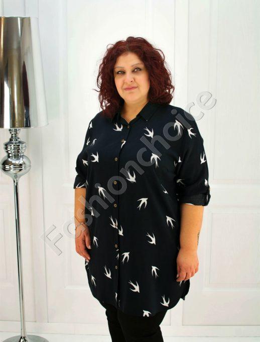 Макси дънкова туника-риза в красив десен/52-60/-код 705-1
