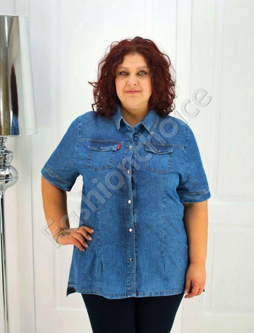 Дънкова макси риза-туника с издължена задна част-код 015-209-1