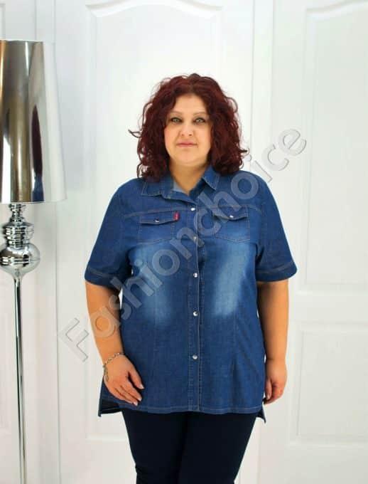 Дънкова макси риза-туника с издължена задна част-код 015-209