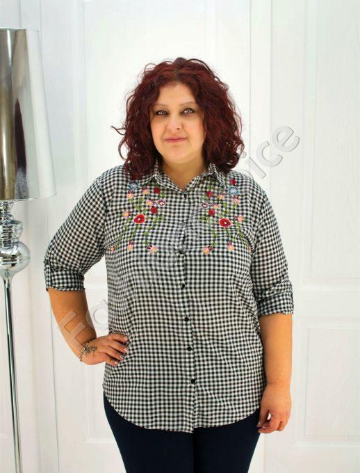 Макси риза в нежно каре с бродирани цветя-код 704-6