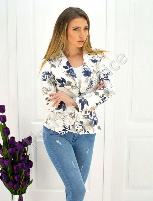 Дамско сако в бяло със сини цветя код 271-1