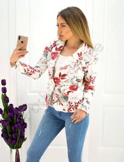 Дамско сако в бяло с червени цветя код 271-2