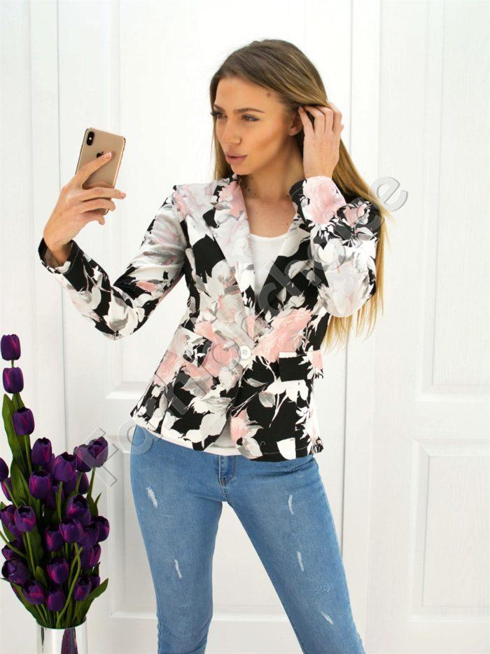 Дамско сако в черно на цветя-код 271-4