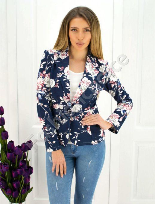 Дамско сако в тъмно синьо на цветя-код 271-3