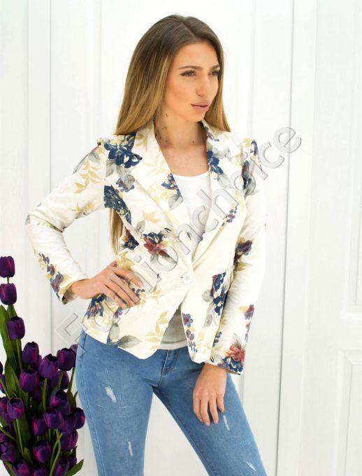Дамско сако в бяло с жълти цветя код 271