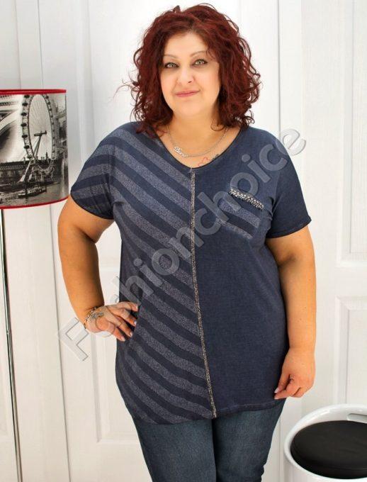Дамска макси блуза с дискретно ламе- код 713-2341