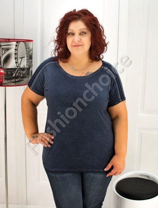 Макси блуза в тъмносин десен- код 713