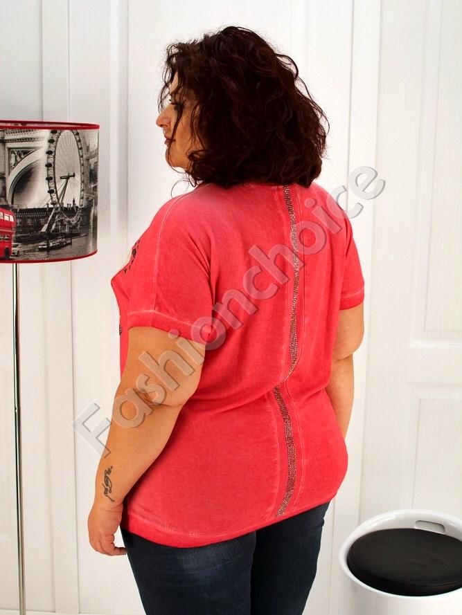 Дамска макси блуза в свеж коралов цвят- код 713-1