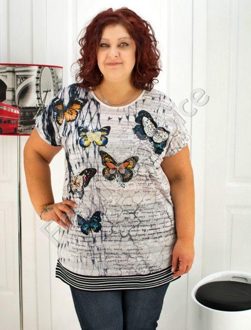 Дамска макси блуза с пеперуди /3XL,4XL,5XL/- код 720
