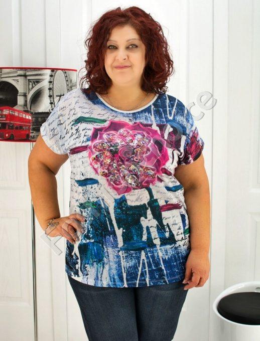 Дамска блуза с роза от блестящи пайети- код 720-03361