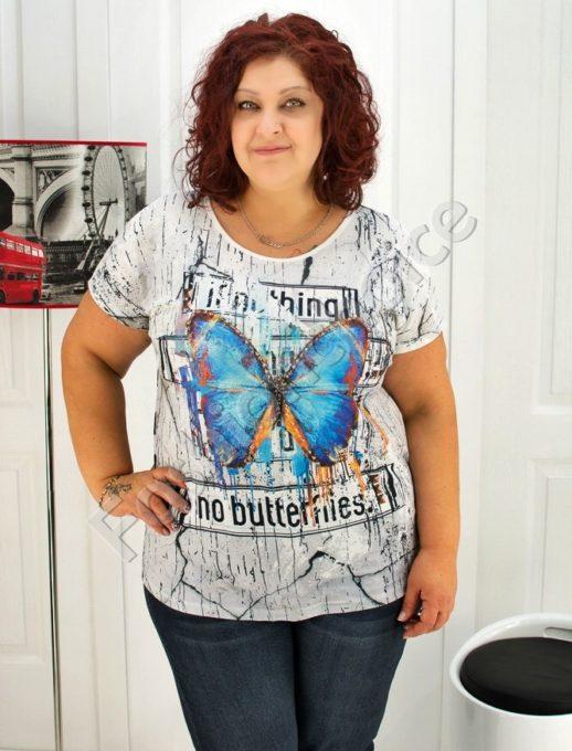 Дамска макси блуза с блестяща пеперуда- код 720-03335