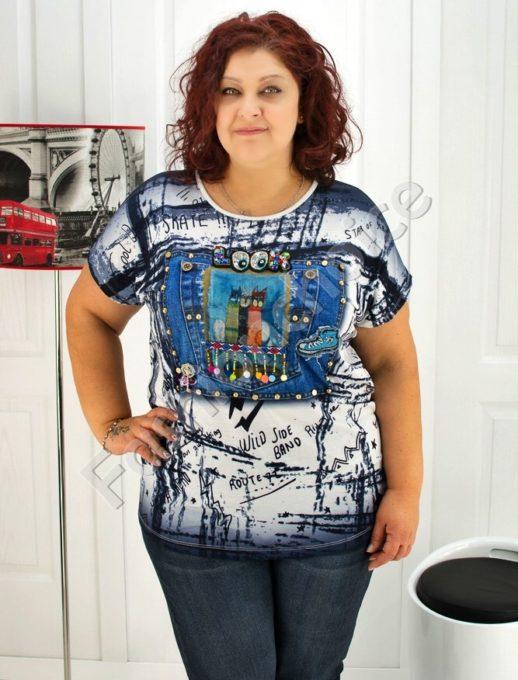 Нов модел макси блуза с камъчета- код 720-03362