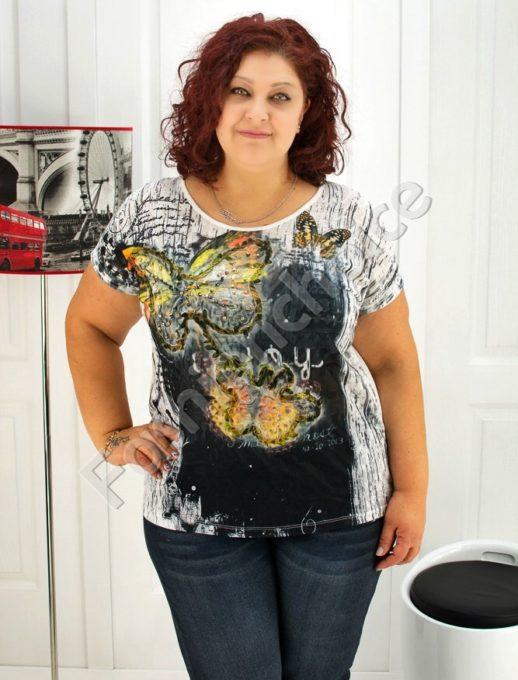 Макси блуза с свежа декорация от пеперуди и камъчета- код 720-3442